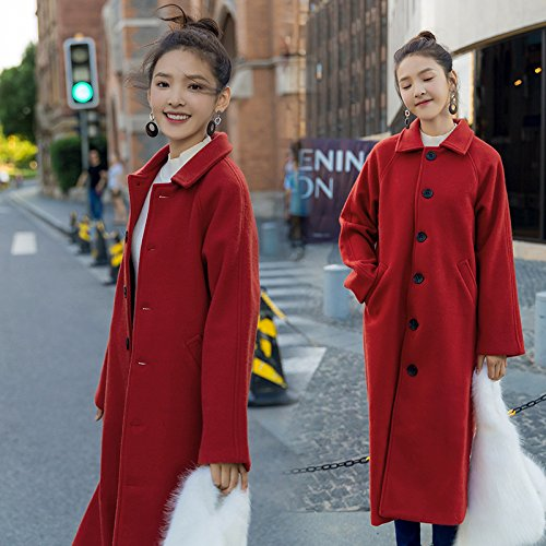 Thick Autumn Long Wanderers Knee Xuanku Red And Maple Leaf Long Thin Coat Loose Winter Jacket Wool qAvwXSgwx