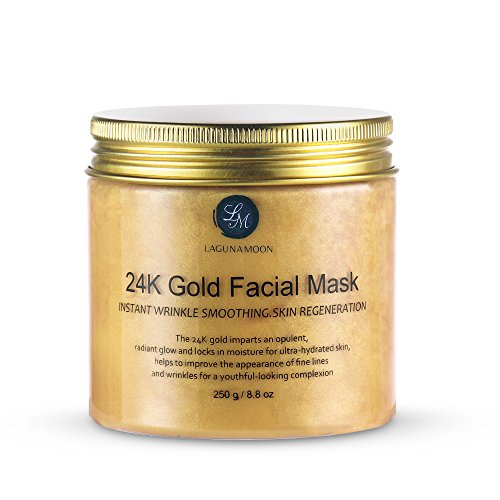 Lagunamoon 24K Gold Facial Mask 8.8 oz Gold Face Mask for Anti Aging Anti Wrinkle Facial Treatment Pore Minimizer, Acne Scar Treatment & Blackhead Remover 250g (Easiest Way To Make A Woman Cum)