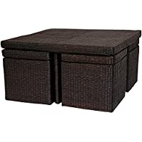 Oriental Furniture Rush Grass Coffee Table with Four Stools - Mocha