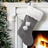 S-DEAL Grey Knitted Christmas Stocking Plush Cuff 21 Inches Mantel Decoration Double Layers with Pompom Gift Holder for Party Family Holiday Xmas