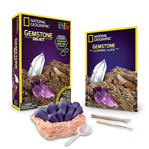 NATIONAL GEOGRAPHIC Gemstone Dig Kit - Excavate 3 real gems including Amethyst, Tiger's Eye & Rose Quartz - Great STEM Science gift for Mineralogy and Geology enthusiasts of any age ()