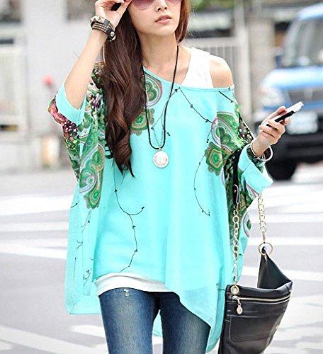 Shirt 4 Manches Batwing Mousseline en en Minetom Vrac de Vert Blouse Soie Bohme Bat Imprime Top 3 Impression Femmes v88qFwZ