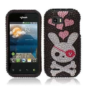 Bloutina NextKin Bling Crystal Full Rhinestones Diamond Case Protector For LG myTouch Q C800, Black Pirate Skull Rabbit...
