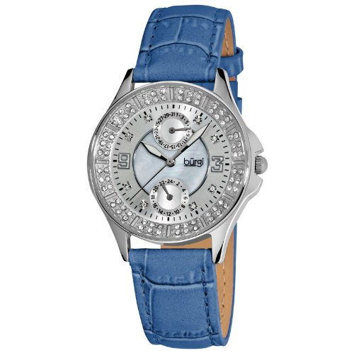 Burgi Diamond Classic Steel GMT Date Strap Ladies Watch BUR044BU