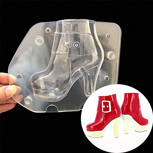 3D High Heel Women Boots Chocolate Mold - MoldFun Lady Leather Stiletto Shoes Plastic Polycarbonate Mould for Fondant, Candy, Cake Decorating (Mold Female)
