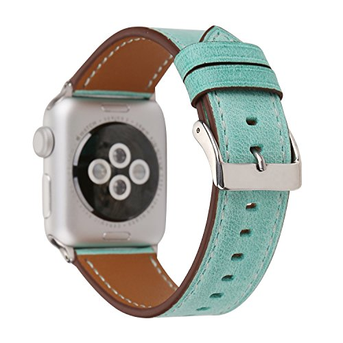 Watch-Wrist for Apple Watch-Band, Fresh Style Replacement Wrist Strap for Apple iWatch Series 3 2 1 Designer Leather Bracelet with Connector fits 38/42mm (Grass Green, 42) ()