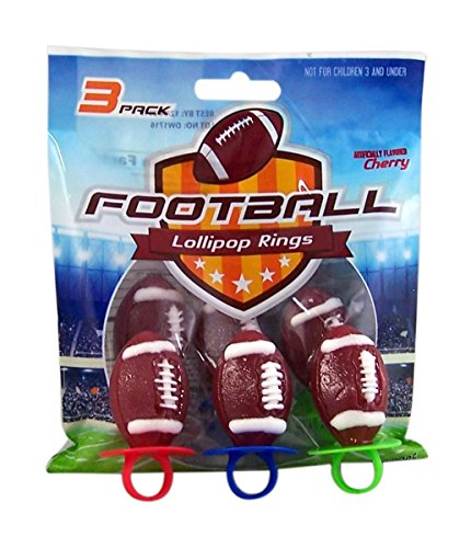 Football Shaped Sports Ring Pop Lollipops, 1.5 oz, 3 Packs of 3