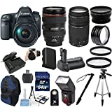 "Canon EOS 6D Digital SLR Camera Body Bundle with EF 24-105mm L IS USM Lens 33rd Street Bundle with Canon EF 75-300mm f/4-5.6 III Zoom Lens + Extra Replacement Battery + 58"" Steady Tripod + TTL Dedicated Flash + 27pc Accessory Kit"