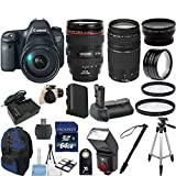"Canon EOS 6D Digital SLR Camera Body Bundle with EF 24-105mm L IS USM Lens 33rd Street Bundle with Canon EF 75-300mm f/4-5.6 III Zoom Lens + Extra Replacement Battery + 58"" Steady Tripod + TTL Dedicated Flash + 27pc Accessory Kit For Sale"