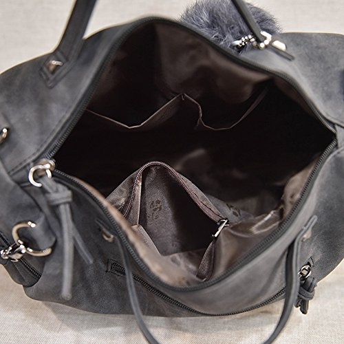 Bags Ball Bag Rivet Hair Bag Women Nubuck Messenger Larger Bags Vintage Top Female Shoulder Leather Handle Motorcycle fnpqAPXa