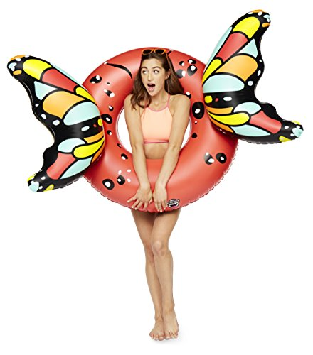 BigMouth Inc Giant Inflatable Red Butterfly Wings Pool Float, Cute Pool Tube with Patch Kit Included