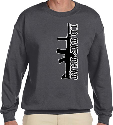 Amdesco Men's Id Tap That AR-15 Crewneck Sweatshirt, Charcoal Grey (Ar Red Charcoal)