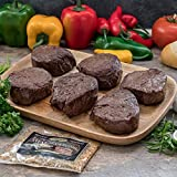 Butcher's Choice Gift Box 6 (6 oz.) Filet Mignons - Set of 6 Wet Aged Filet Mignon Beef Cut Gift Set with 1 Pack Steak Seasoning - Juicy Filet Mignons Perfect as Home-made Grilled Steak