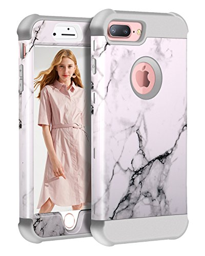 (iPhone 8 Plus/7 Plus/6S Plus/6 Plus Marble Case, KAMII Tri-Layer Soft Flexible Silicone and Hard PC Hybird Defender Bumper Case for Apple iPhone 6 Plus/6S Plus/7 Plus/8 Plus 5.5