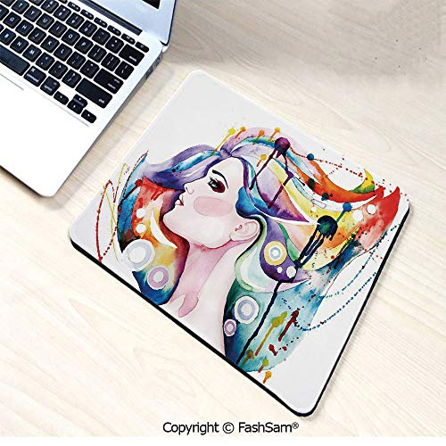 Personalized 3D Mouse Pad Lovely Grunge Inspired Young Woman with Rainbow Colored Hair Abstract Watercolor Art for Laptop Desktop(W9.85xL11.8)