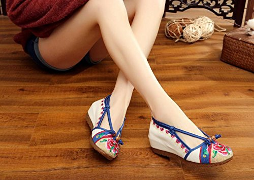 DESY Gestickte Schuhe, Sehnensohle, ethnischer Stil, weiblicher Flip Flop, Mode, bequem, Sandalen , red , 41