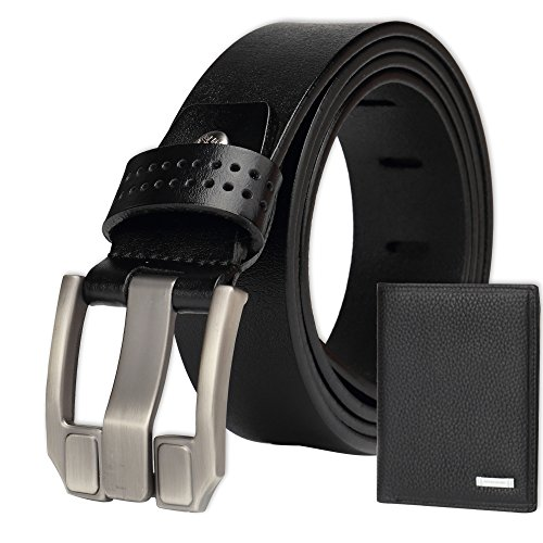 BISON DENIM Men's Belt Genuine Leather Waistband Casual Alloy Buckle Belts Enclosed in an Elegant Gift Box with A Wallet 110cm Black