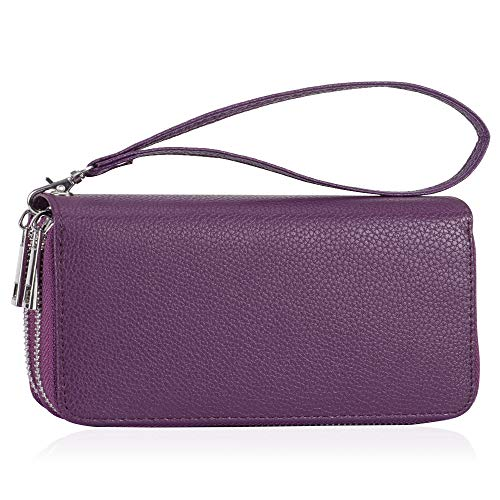 Double Zipper Long Clutch Wallet Cellphone Wallet for Women with Hand Strap for Card, Cash, Coin, Bill (Purple-Litch Pattern)