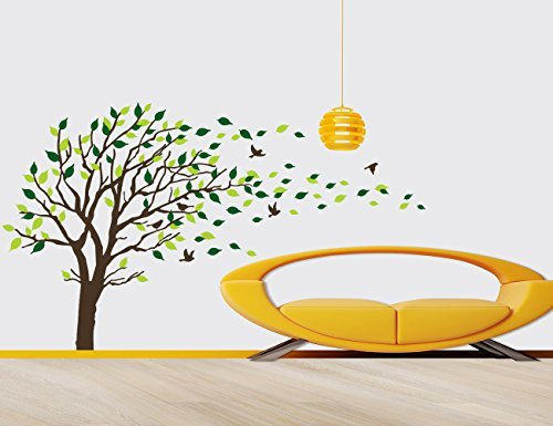 Huge Size Green Tree Birds Wall Decals Removable Wall Decor Decorative Painting Supplies & Wall Treatments Stickers for Girls Kids Living Room Bedroom office