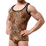 YUFEIDA Men's Boxer Briefs Low Rise Sexy Leopard Print Underwear Man Shorts Underpants and Tank Top (M, Tank Top (Yellow))
