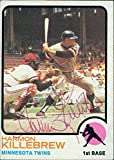Signed Killebrew, Harmon (Minnesota Twins) 1973 Topps Baseball Card in red pen. (Light smudging of signature) autographed
