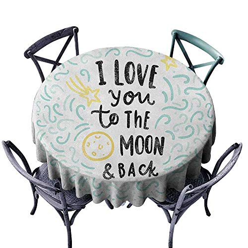 Mannwarehouse I Love You Waterproof Tablecloth Cartoon Style Dreams Children Sibling Valentines Friends Baby Kids Theme Easy Care D47 Mint Grey Yellow