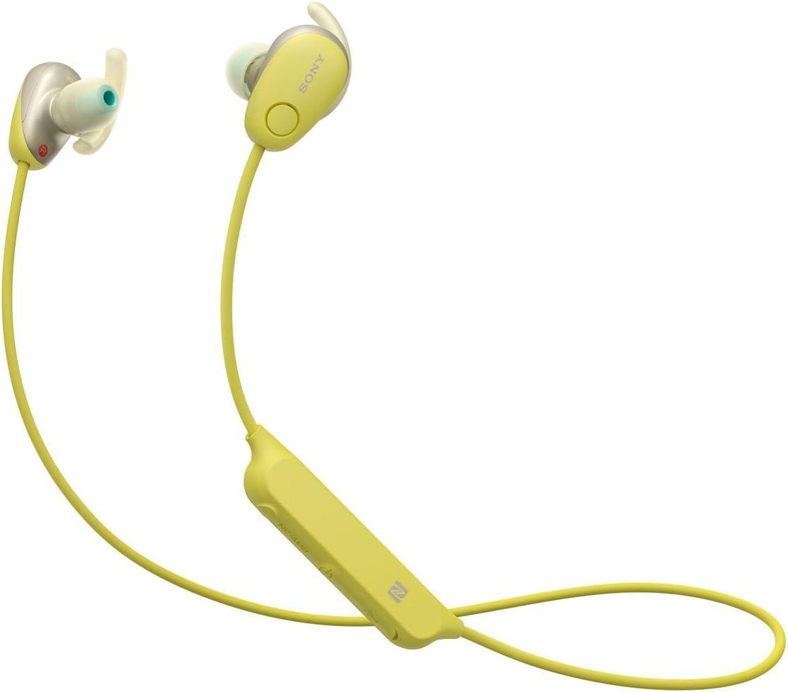 Sony SP600N Wireless Noise Canceling Sports In-Ear Headphones, Yellow (WI-SP600N/Y)