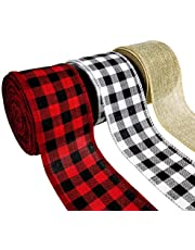 """Kingovalley 3 Rolls Wired Plaid Ribbon, Black Red Plaid Ribbon, Black White Plaid Ribbon, Burlap Ribbon Wired for DIY Craft, Gift Wrapping, Christmas Decoration, Floral Bows Craft (2.4""""*10yd)"""