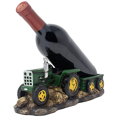 Vintage Farm Tractor and Wagon Wine Bottle Holder Statue or Decorative Tabletop Wine Rack in Antique Look for Rustic Country Kitchen Decor & Old Fashioned Bar Decorations As Classic Gifts for Farmers by Home 'n Gifts