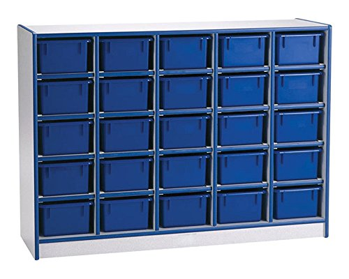 Offex Children Classroom Organizer 25 Cubbie-Tray Mobile Storage Unit with Trays - Green ()