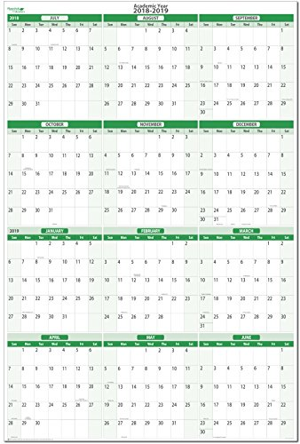 Earth Green 2018-2019 Extra Large Vertical Academic (Starts July 2018- Ends June 2019) Erasable Wall Planner Kit 32 in. x 48 in. No Ghosting/Staining! (Wall Planning Kit)