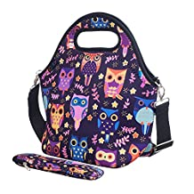 iColor Neoprene Lunch Bag with Cutlery Kit Neoprene Case for Knife,Fork,Spoon,removale Shoulder Strap, Thermal Thick Lunch Tote Bag,Large Size,Reusable Bags for Adults,Kids-Great Back to School Gift YLLB-008