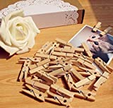 100PCS 35mm Natural Wooden Photo Paper Clips by shopidea