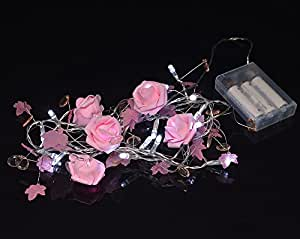 Fantado 20 LED Garland Light Chain w/ Rose Flowers and Beads - Pink by PaperLanternStore