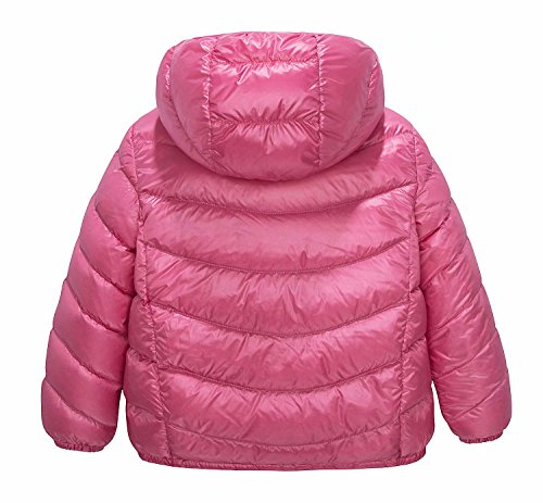 Spring&Gege Boys' Quilted Packable Hoodie Lightweight Puffer Jacket Windproof Outwear Children Warm Duck Down Coat for Boys and Girls Size 7-8 Years Pink by Spring&Gege (Image #1)
