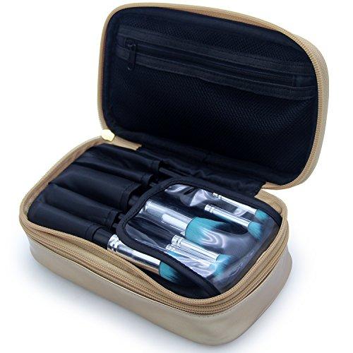 MONSTINA Cosmetics Bag,Double Layer Makeup Bag,Beauty Makeup Brush Bags Travel Multi-functional Kit Organizer For Women(Champagne Gold) by MONSTINA (Image #6)