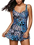 #6: Century Star Women's Elegant Dress One Piece Boy-Leg Bathing Suit Swimdress Printed Swimwear Swimsuits