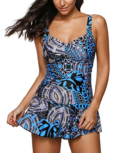 Zando Women Swimdress Printed One Piece Swim Dresses Swimwear Slimming Skirt Swimsuits Bathing Suits Dress Floral Blue 2XL (US 16-18)