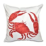 E by design 26 x 26 inch, Crab, Animal Print Pillow, Coral
