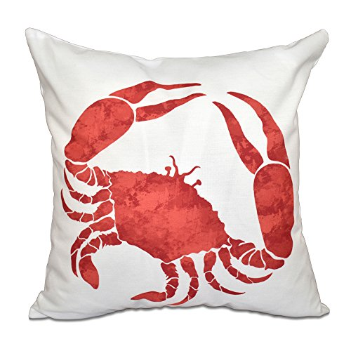 """E by design PAN467OR15-16 16 x 16 inch, Crab, Animal Print Pillow, Coral, 16"""" x 16"""", Red/Orange"""