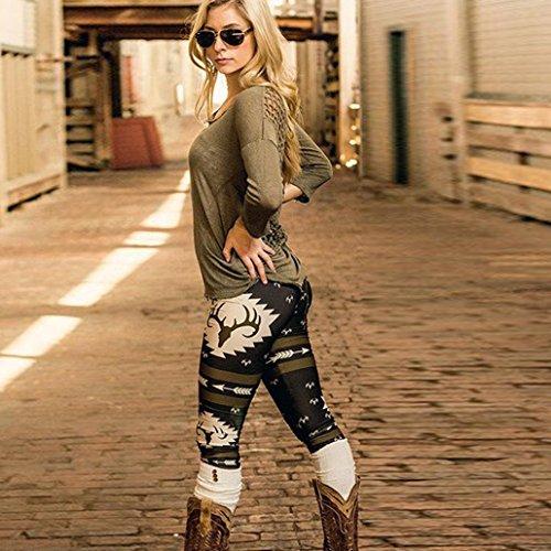 WensLTD Women New Design Elk Deer Skinny Printed Stretchy Pants Leggings