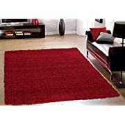 Sweet Home Stores Cozy Shag Collection Solid Shag Rug, 5'3  X 7', Red Color