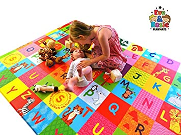 Eve Rosie Baby Play-Mat 100 Child Safe, Non Slip Kids-Floor-Mat Waterproof, Hygienic and Padded, Safe for Toddlers – Medium 72 x 55 x 0.6 Inches