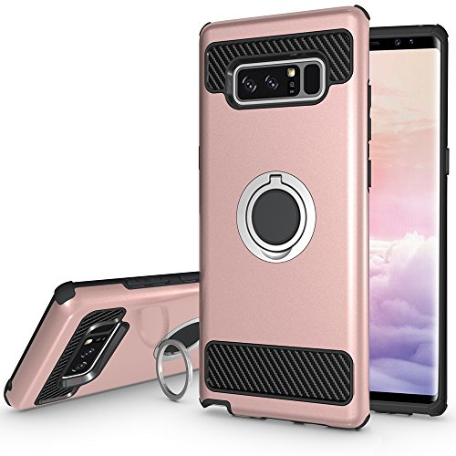 Note 8 Case with Kickstand,360 Degree Rotating Ring Grip Case for Samsung Galaxy Note 8 (2017) Dual Layer Shockproof Impact Protection Galaxy Note 8 Case Compatible with Magnetic Car Mount (Rose Gold)