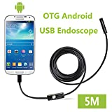 Fantronics 7mm Android Endoscope OTG Micro USB Endoscope Waterproof Borescopes Inspection Camera with 6 LED and 5M Cable