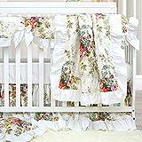 Brandream Crib Bedding Sets for Girls Baby Nursery Floral Ruffled Crib Skirt Set(White Flower 3pc Set)