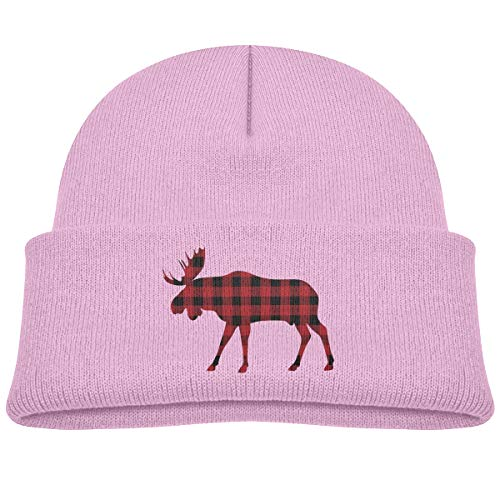 Infant Toddler Baby Kids Knitted Beanies Hat Buffalo Plaid Moose Red Black Winter Hat Knitted Skull Cap for Boys Girls Pink -