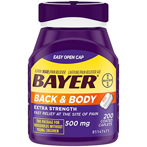 Bayer Back & Body Aspirin 500mg Coated Tablets | Pain Reliever with 32.5mg Caffeine | 200 Count