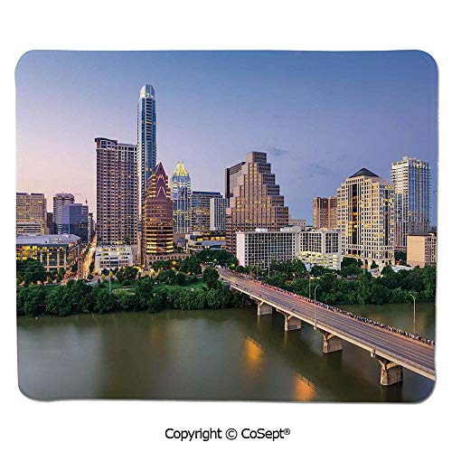 Austin Recliner - Mouse Pad,Austin Texas American City Bridge Over The Lake Skyscrapers USA Downtown Picture,for Computer,Laptop,Home,Office & Travel(7.87