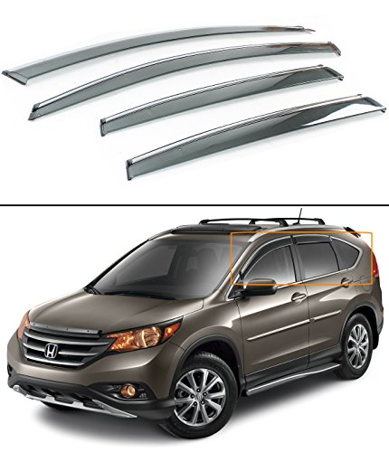Fits for 2012-2016 Honda CRV CR-V Clip-on Type Smoke Tinted Window Visor W/Chrome Trim